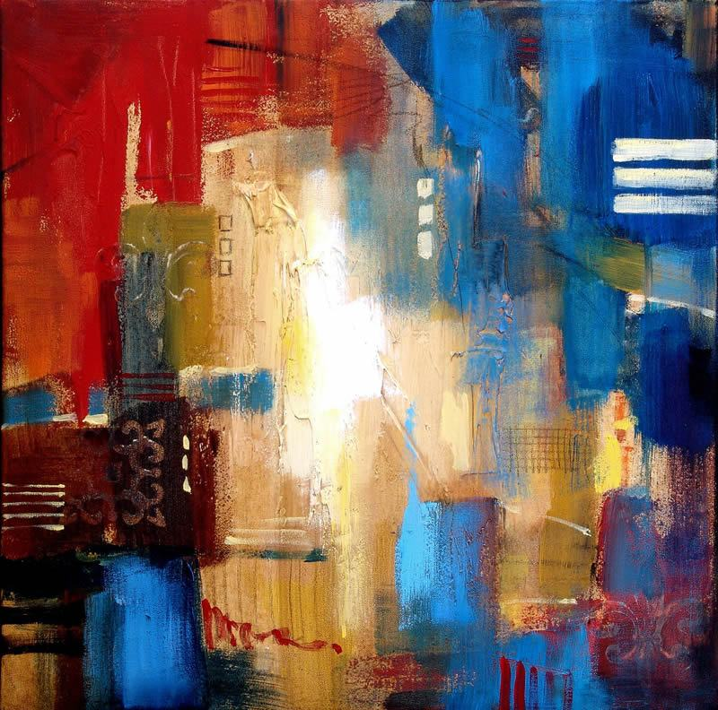 3 Piece Painting On Canvas Wall Art Nyc Street Lights New: 2010 Abstract Skyline I Painting