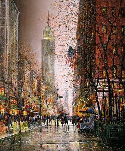 2011 dessapt ny 5th avenue painting framed paintings for sale. Black Bedroom Furniture Sets. Home Design Ideas