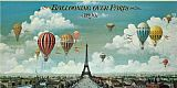 2011 Canvas Paintings - Ballooning Over Paris