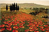 2011 Canvas Paintings - Hills of Tuscany I