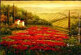 Famous Red Paintings - Red Poppies in Tuscany