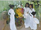2011 School girls with Flowers painting