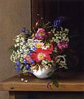 Adelheid Dietrich - Still Life with Dog Roses_ Larkspur and Bell Flowers in a White Cup