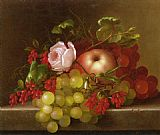 Still Life with Peach_ Grapes and Rosehips