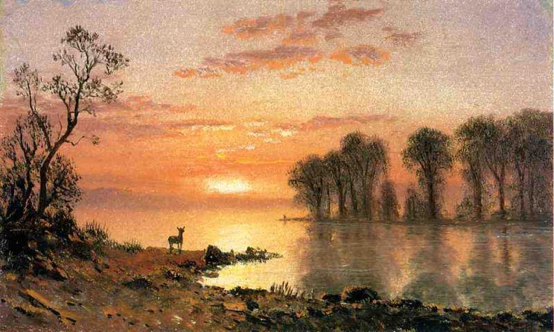 Albert Bierstadt Autumn Woods Painting Framed Paintings