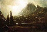 Lake Canvas Paintings - By a Mountain Lake