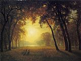 Albert Bierstadt Deer in a Clearing painting