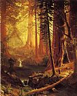 Albert Bierstadt Giant Redwood Trees of California painting