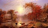 dia Canvas Paintings - Indian Summer, Hudson River