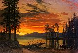 Famous River Paintings - Sunset over the River