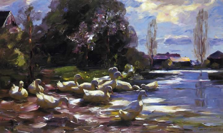 Alexander Koester Ducks on a Riverbank on a Sunny Afternoon painting ...