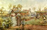 Alfred Glendening - A Lady And Her Maid Picking Chrysanthemums