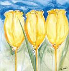 Alfred Gockel Canvas Paintings - 3 Yellow Tulips