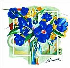 Alfred Gockel Canvas Paintings - Blue Flowers In Vase