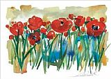 Field Canvas Paintings - Field of Poppies