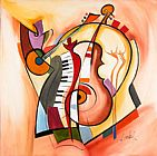 Alfred Gockel Famous Paintings - Music is my life