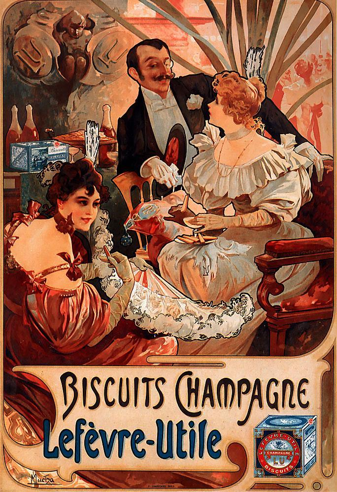 Alphonse Maria Mucha Biscuits Champagne Lefevre Utile