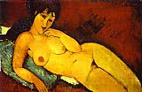 Nude Canvas Paintings - Nude on a Blue Cushion