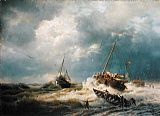 coast Canvas Paintings - Ships in a Storm on the Dutch Coast 1854