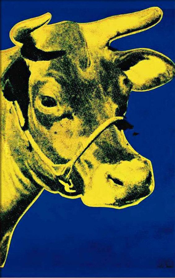 Andy Warhol Cow Yellow on Blue Background
