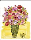 Andy Warhol Canvas Paintings - Basket of Flowers