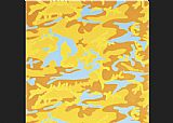 Andy Warhol Canvas Paintings - Camouflage orange yellow blue