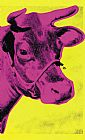 Andy Warhol Canvas Paintings - Cow Pink on Yellow