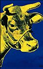 Andy Warhol Cow Yellow on Blue Background painting