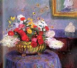 Famous Flowers Paintings - Still Life Round Bowl with Flowers