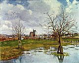 Camille Pissarro Paysage au champ inonde 1873 painting