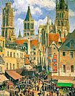 Market Canvas Paintings - The Old Market at Rouen