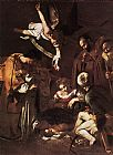 fran Canvas Paintings - Nativity with St. Francis and St. Lawrence