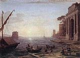 Claude Lorrain A Seaport at Sunrise painting