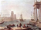 Famous Port Paintings - Port Scene with the Departure of Ulysses from the Land of the Feaci