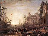 Famous Port Paintings - Port Scene with the Villa Medici