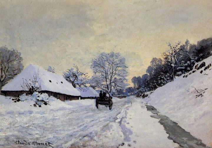 Claude Monet A Cart on the Snow Covered Road with Saint-Simeon Farm
