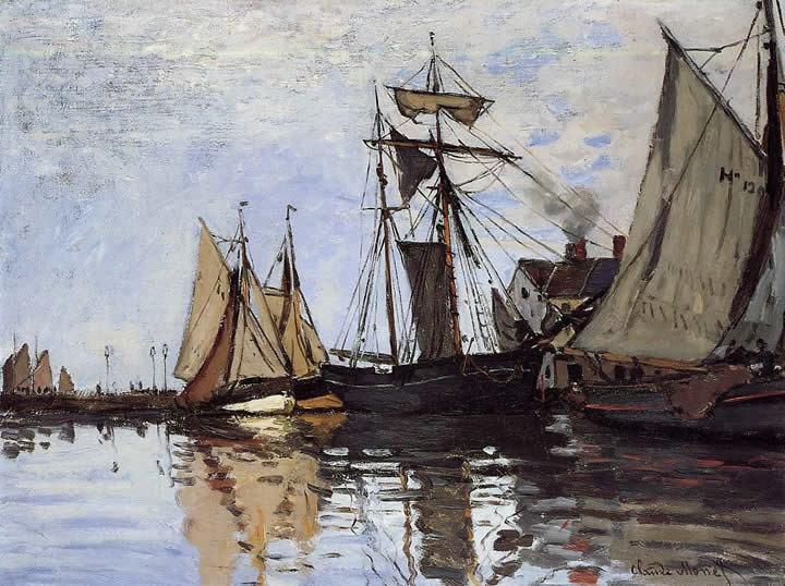 Claude Monet Boats in the Port of Honfleur