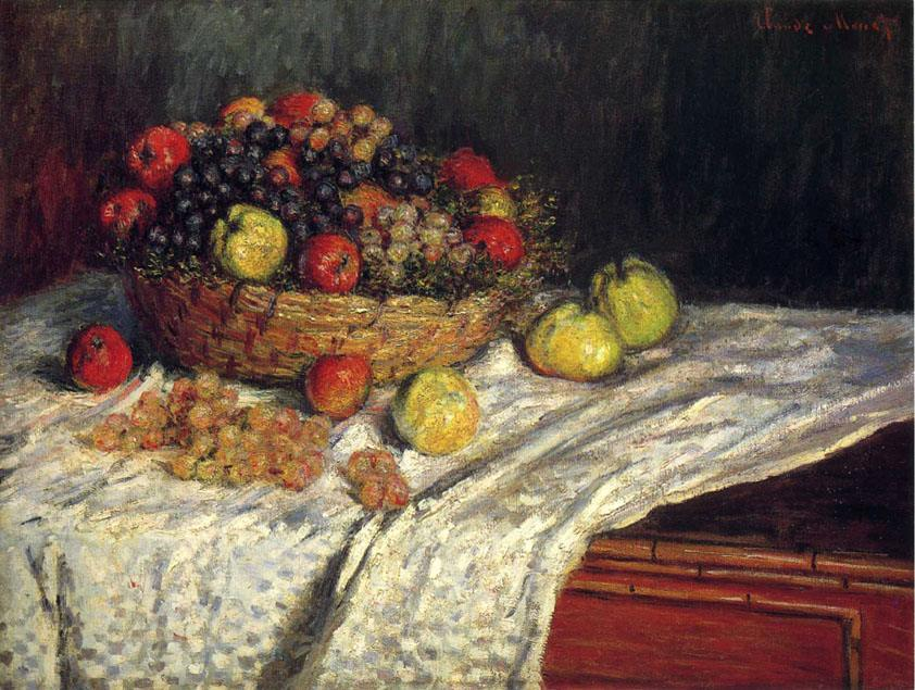 Claude Monet Fruit Basket with Apples and Grapes