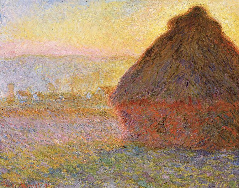 Claude Monet Haystacks, sunset