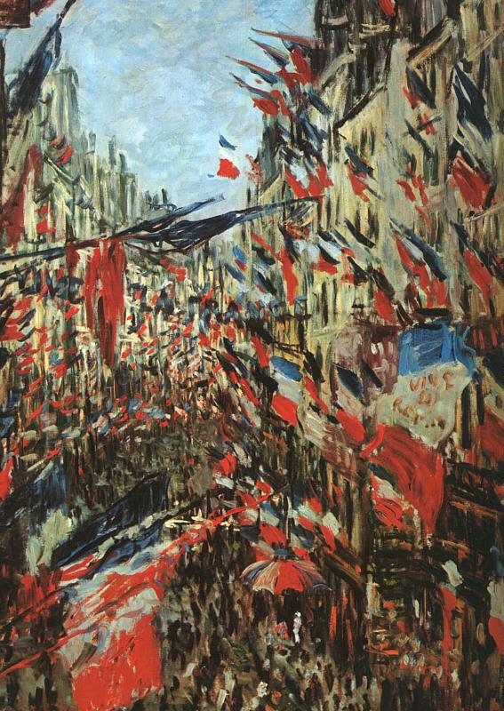 Claude Monet Rue Montargueil with Flags