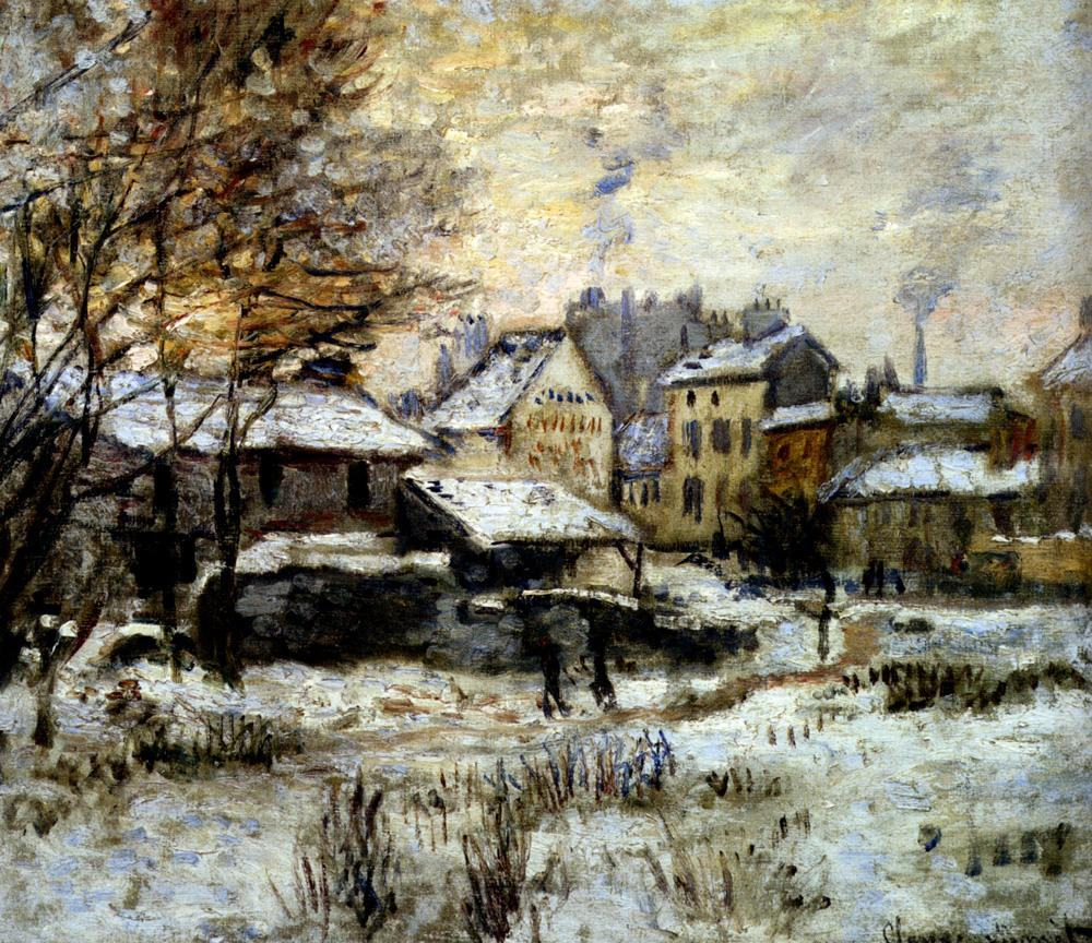 Claude Monet Snow Effect With Setting Sun