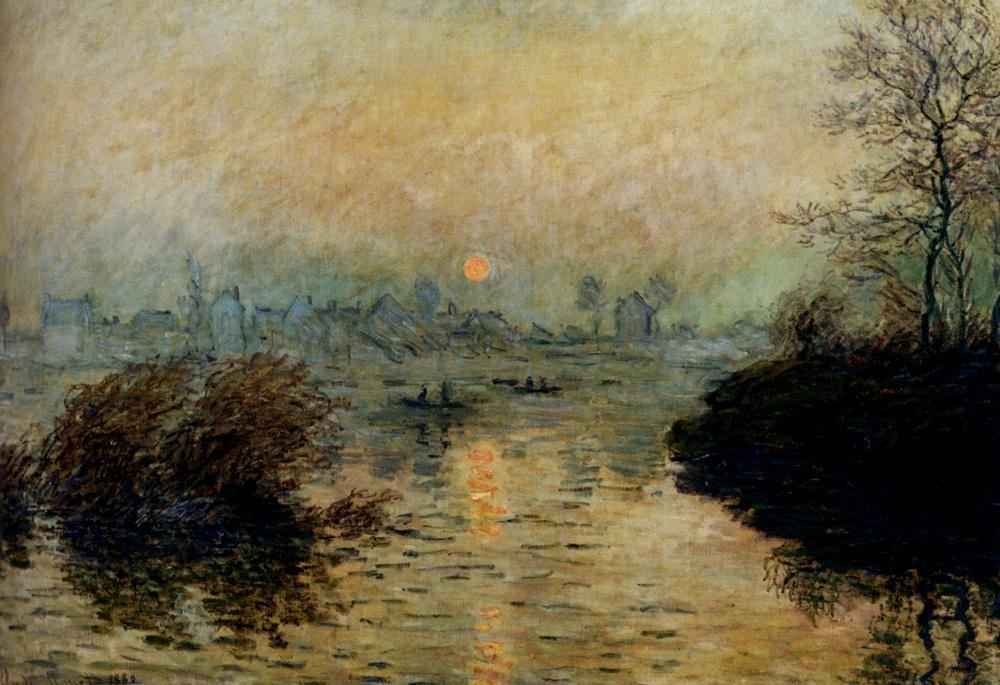 Claude Monet Sun Setting Over The Seine At Lavacourt