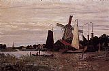wind Canvas Paintings - A Windmill at Zaandam