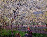 spring Canvas Paintings - An Orchard in Spring