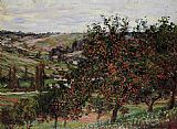 Trees Canvas Paintings - Apple Trees near Vetheuil