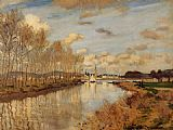 arm Canvas Paintings - Argenteuil Seen from the Small Arm of the Seine 2