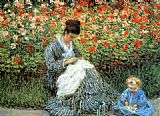 Child Canvas Paintings - Camille Monet with a child 1875