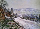 Winter Canvas Paintings - Entering the Village of Vetheuil in Winter