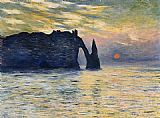 set Canvas Paintings - Etretat Sunset