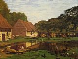 far Canvas Paintings - Farmyard in Normandy
